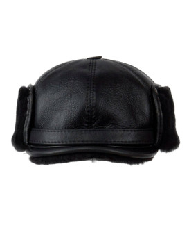 Shearling Sheepskin Captain Fudd Hat - Black
