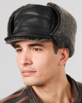 Black Shearling Sheepskin Captain Hat for Men