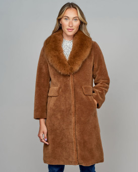 Shearling Sheepskin Coat with Fox Collar in Brown