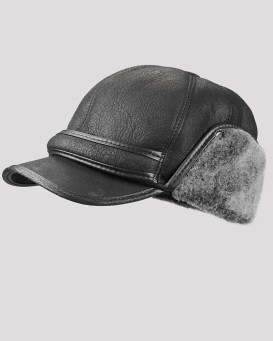 Black Shearling Sheepskin Fudd Hat for Men
