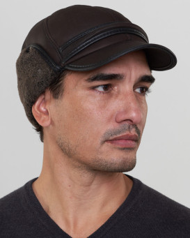 Brown Shearling Sheepskin Fudd Hat for Men
