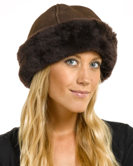 The Olie Shearling Sheepskin Hat in Brown