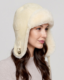 Shearling Sheepskin Pilot Hat in Stone