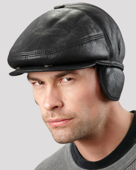 Black Shearling Sheepskin Polo Hat for Men