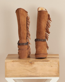 Sheepskin Wedge Boot with Fringe - Tan - Size 8