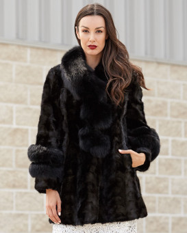 Shiloh Black Sectioned Mink Coat with Fox Collar & Trim