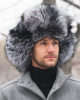 Silver Fox Full Fur Russian Hat for Men
