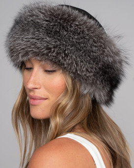 Samantha Silver Fox Fur Roller Hat with Leather Top
