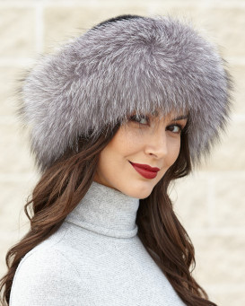 Raylene Silver Fox Fur Roller Hat with Mink Top
