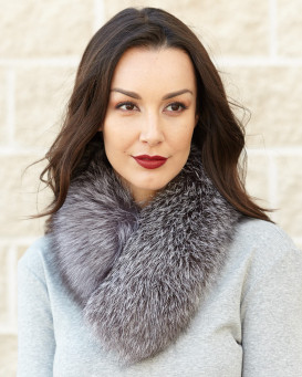 Silver Indigo Fox Fur Collar