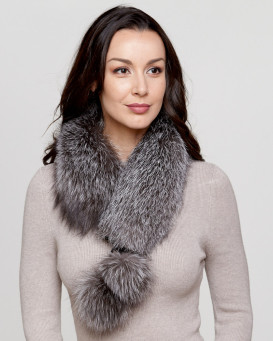 Silver Indigo Fox Fur Collar with Pom Poms