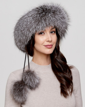 Silver Indigo Fox Fur Headband with Pom Poms