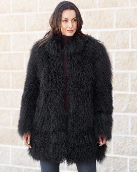 Simone Black Mongolian Lamb Fur Jacket