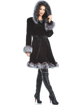 Simone Sheared Black Mink Coat with Silver Fox Trim