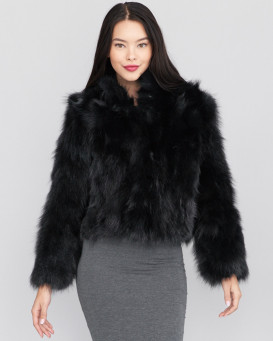 Sky Black Finn Raccoon Fur Jacket