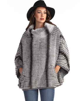 Skyla Rex Rabbit Fur Poncho