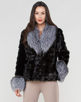 e0dd25f595e76 Skyler Sculptured Mink Fur Jacket with Silver Fox Trim