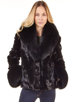 Skyler Sculptured Mink Fur and Fox Fur Jacket