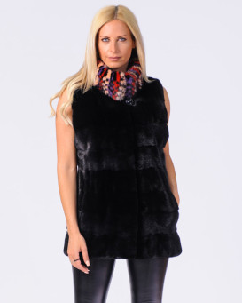 Sloan Black NAFA Mink Fur Vest with Multi-Color Mink Fur Collar