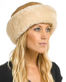 The Kelowna Shearling Sheepskin Hat in Camel