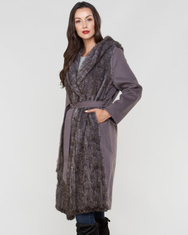 Suzanne Combination Knit Mink and Wool Coat