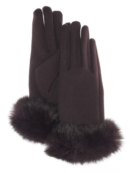 Sydney Rabbit Fur Cuff Glove - Coffee