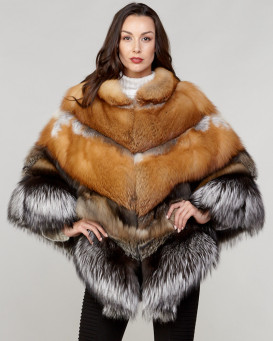 Taya Tiered Fox Poncho