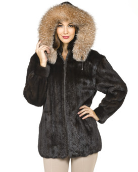 Taylor Long Hair Mink Zip Jacket with Crystal Fox Trim Hood