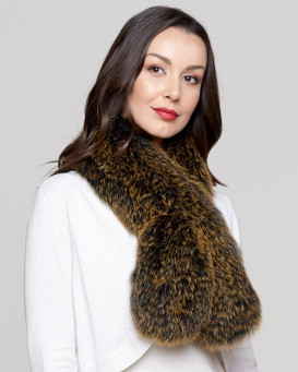 Teresa Knit Fox Fur Pull Through Scarf in Golden