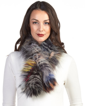 Teresa Knit Fox Fur Pull Through Scarf in Prism