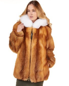 The Abby Red Fox Fur Parka Coat with Hood for Women