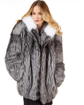 The Abby Silver Fox Fur Parka Coat with Hood for Women