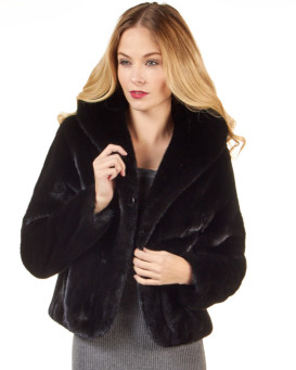 The Annabella Black Mink Fur Bolero Jacket for Women