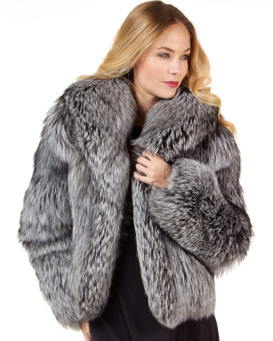 The Annabella Silver Fox Fur Bolero Jacket for Women