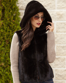 The Brynn Black Mink Fur Vest with Collar for Women