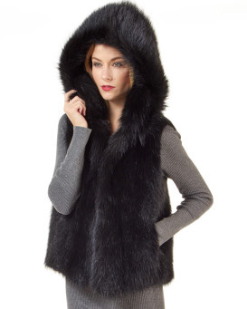 The Brynn Black Raccoon Fur Vest with Collar for Women