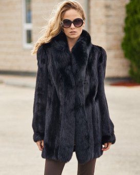 The Caitlin Black Mink Coat with Fox Tuxedo Collar