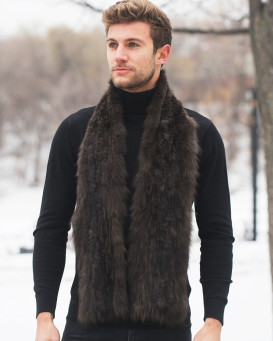 The Liam Sable Fur Knit Scarf For Men