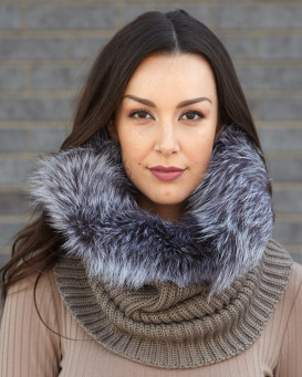 The Chunky Knit Silver Fox Fur Cowl