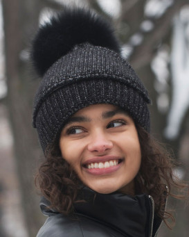 The Cove Beanie with Face Mask and Raccoon Pom Pom in Black