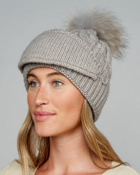 The Cove Beanie with Face Mask and Raccoon Pom Pom in Grey