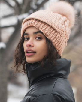 The Cove Beanie with Face Mask and Raccoon Pom Pom in Pink