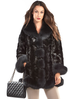 The Dayana Black Sectioned Mink Jacket with Fox Collar & Trim