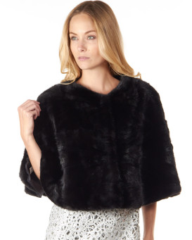 The Dulce Black Mink Caplet