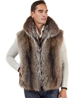 The Ethan Natural Raccoon Fur Vest for Men