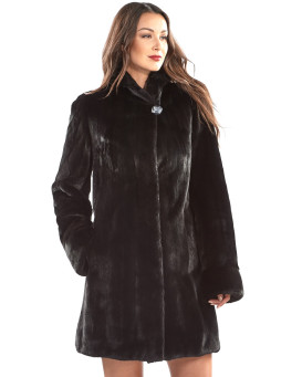 The Floriana BLACKGLAMA Mink Fur Coat with Hood