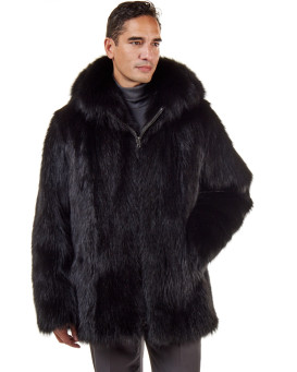 The Hudson Mid Length Black Raccoon Fur Coat for Men