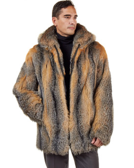 The Hudson Mid Length Natural Grey Fox Fur Coat for Men