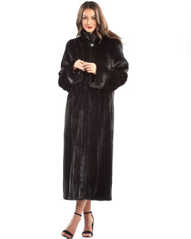 The Katya BLACKGLAMA Mink Fur Full Length Coat with Shawl Collar