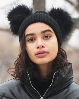 The Ky Double Pom Pom Beanie Hat in Black